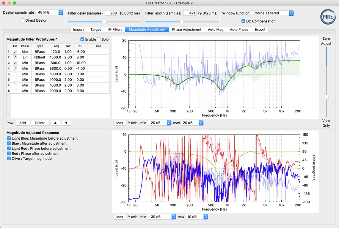 FIR Creator screenshot - filter creation software for loudspeakers - Magnitude Adjustment page