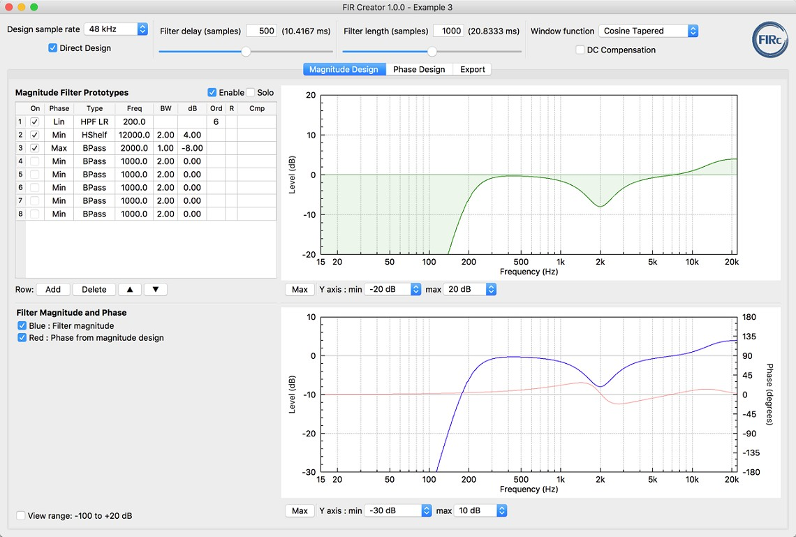 FIR Creator loudspeaker fir filter software tool - Direct Design Mode - Magnitude Design Tab screenshot
