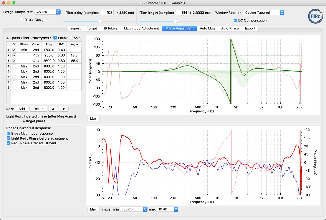 FIR Creator loudspeaker fir filter software tool - screenshot of Phase Adjustment tab