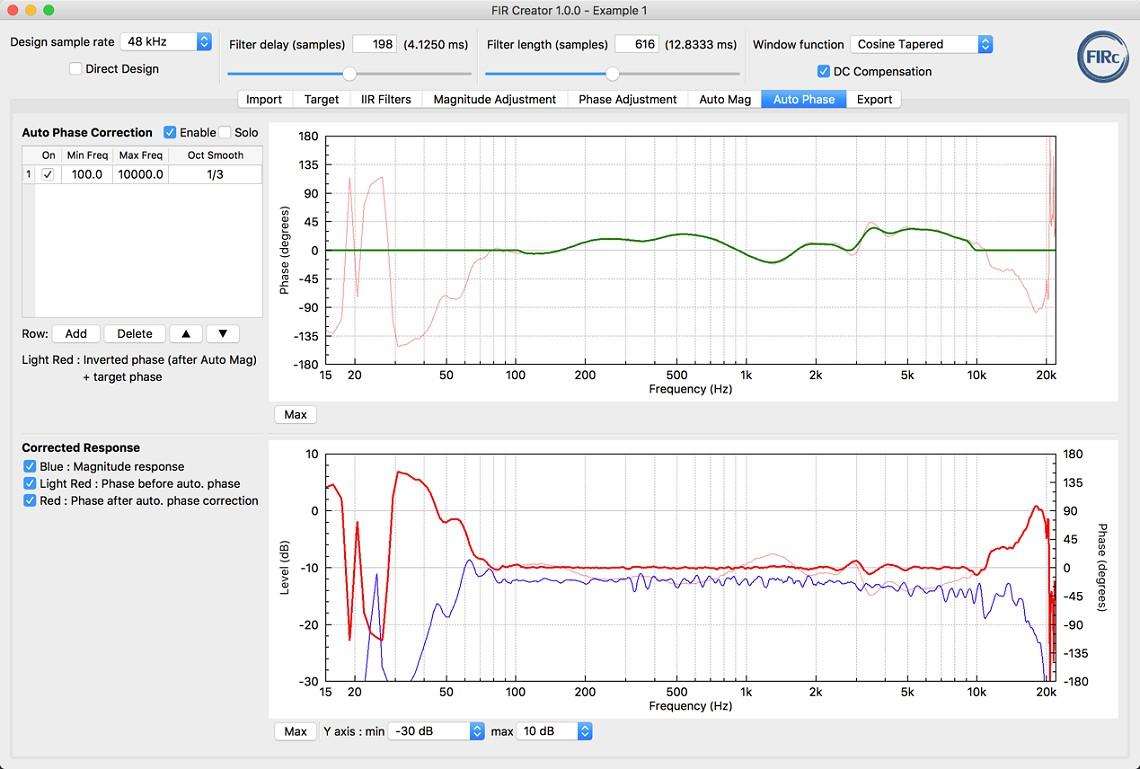 FIR Creator loudspeaker fir filter software tool - screenshot of Auto Phase