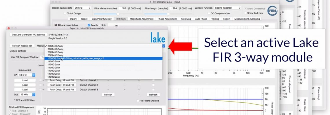 Lake FIR filter designer. Design & load with FIR Designer. Screenshot of FIRd DTP dialog.