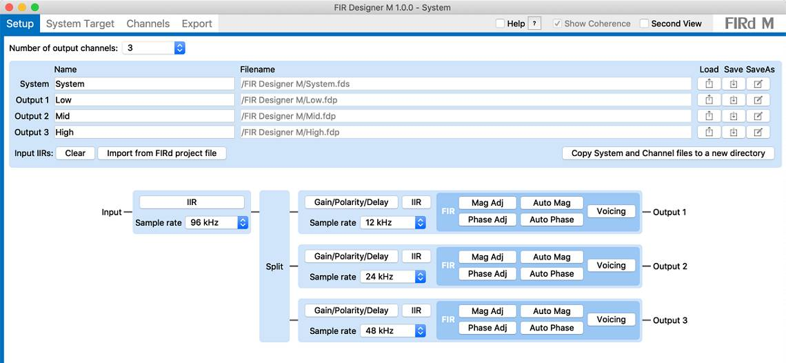 FIR Designer M screenshot - FIR software for loudspeakers - Setup page screenshot
